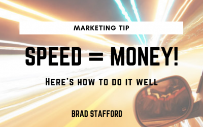 Marketing Tip: Speed = Money! Here's how to do it well…